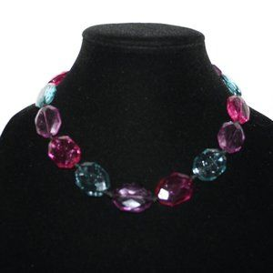 Colorful pink purple blue ribbon necklace